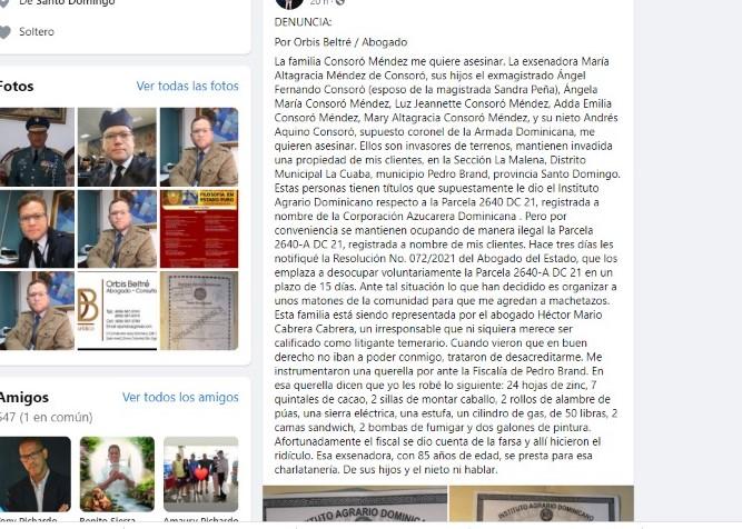 Publicación del abogado Beltré