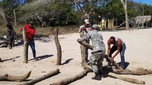 Autoridades destruyen empalizada ilegal que cercaba una amplia franja de playa en La Isabela Histórica