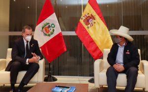 El rey Felipe VI se reunió con el presidente electo de Perú, Pedro Castillo
